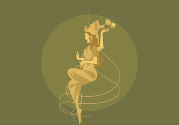 Illustration of Sitting Goddess Lakshmi Vector - Free vector #426239