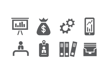 8 Silhouette Business Icon Vectors - vector gratuit #426259
