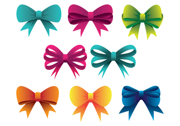 Colorful Hair Ribbon Icons Set - Free vector #426429