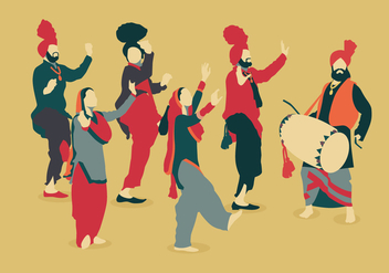 Bhangra Vintage Color Dancer Vectors - Free vector #426459