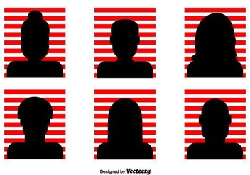 Red Striped Headshot Vector Icons - vector gratuit #426499