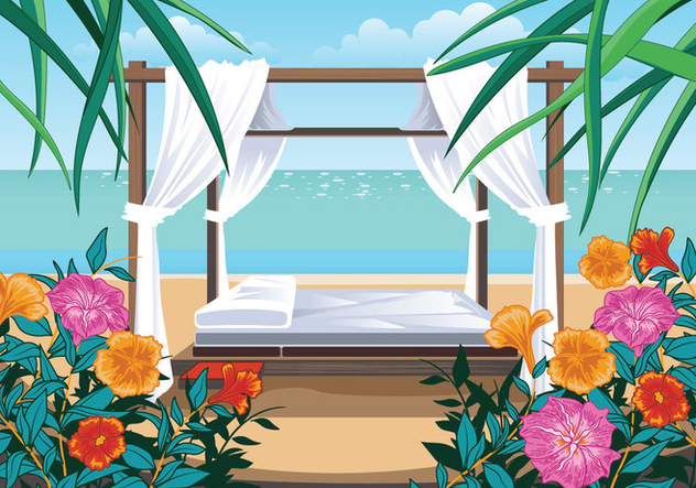 A Beautiful Beach and Cabana - Free vector #426519
