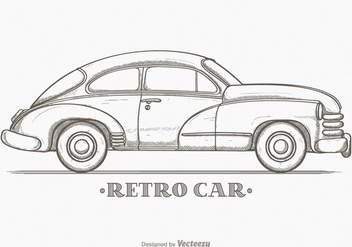 Hand Drawn Sketch Retro Car Vector - Kostenloses vector #426699