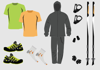 Nordic Walking Equipment Vector Pack - vector #426829 gratis