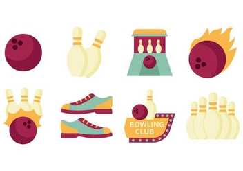 Free Flat Bowling Element Collection Vector - vector gratuit #426859