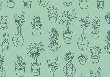 Green Cactus and Succulents Pattern - Kostenloses vector #426889