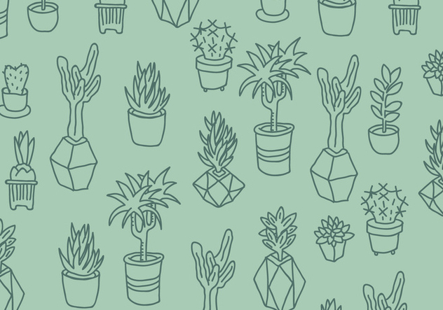 Green Cactus and Succulents Pattern - Free vector #426889