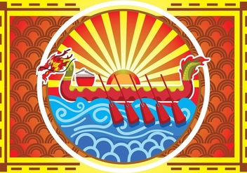 Dragon Boat Festival Poster Background - vector gratuit #426909