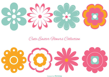 Cute Colorful Easter Flowers Collection - vector #427109 gratis