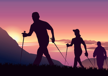 Adventurous People Nordic Walking in Mountain Vector - Free vector #427259