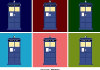 Tardis Flat Vector Icons - Free vector #427359