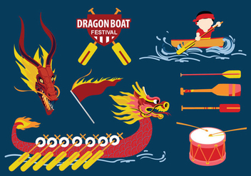 Dragon Boat Festival Stuff Vector Pack - Free vector #427419