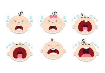 Crying Baby Sticker Design Vectors - vector gratuit #427429