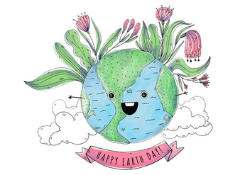 Cute World Cartoon Earth day - Free vector #427439