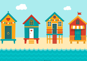 Colourful Beach Huts Vector - Free vector #427519