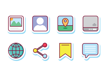 Social Media Sticker Icons - vector #427569 gratis