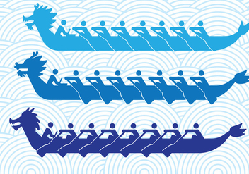 Dragon Boats Silhouettes - Free vector #427589
