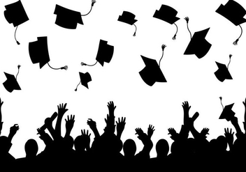 Graduation background vector silhouette - vector gratuit #427629