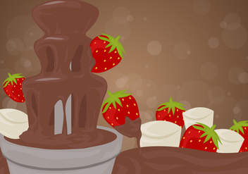 Chocolate Fountain Background with Strawberries Vector - Kostenloses vector #427719
