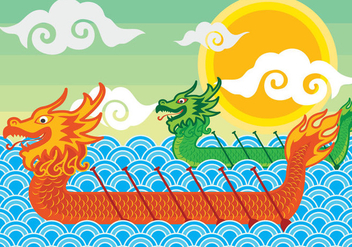 Dragon Boeat Festival Illustration - Free vector #427789