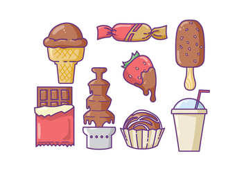 Various Chocolate Product Icons - Free vector #427809