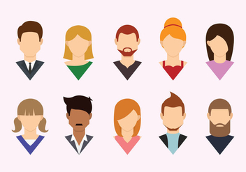 Headshot Flat Icons - Free vector #427819
