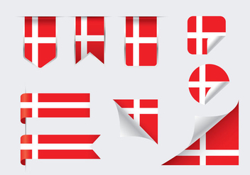 Danish Flags Ribbons and Sticker Vectors - Free vector #428139