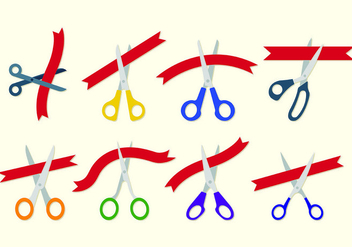 Ribbon Cutting Vectors - Free vector #428229