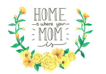 Beautiful Yellow Crown Flowers And Lettering To Mother's Day - vector gratuit #428279