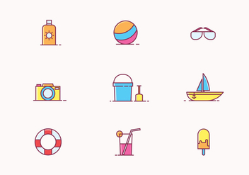 Beach Icon Set - Free vector #428299