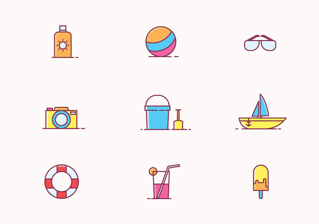Beach Icon Set - vector gratuit #428299
