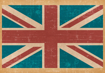 United Kingdom Flag on Old Grunge Background - Kostenloses vector #428309