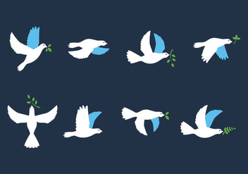 Paloma Bird with Leaves Vectors - Free vector #428449