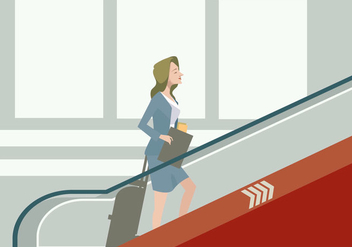 Business Women in The Airport's Escalator Vector - Free vector #428459