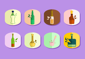 Flat Broken Bottle Free Vector - vector gratuit #428479