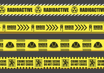Yellow Danger Tape Sign Vectors - Kostenloses vector #428489