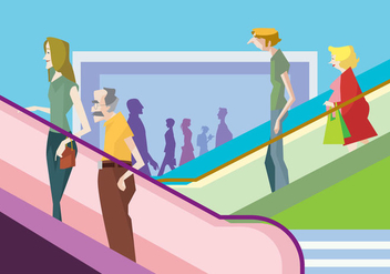People on a Mall Escalator Vector - Free vector #428579