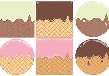 Round And Square Waffle Cone Pattern Vectors - Free vector #428589