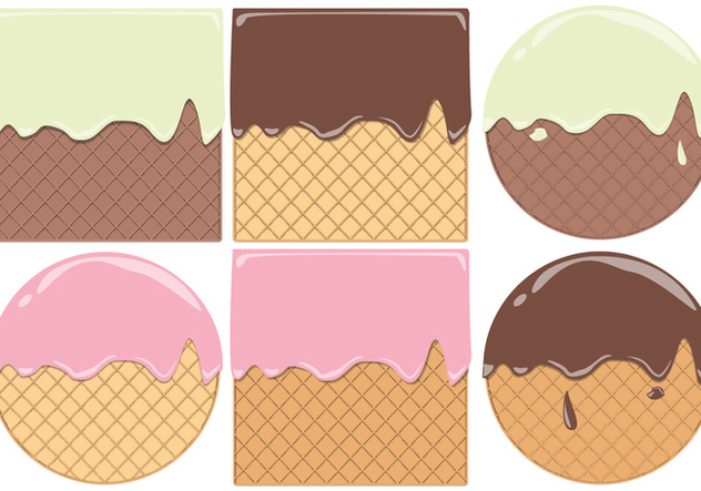 Round And Square Waffle Cone Pattern Vectors - бесплатный vector #428589