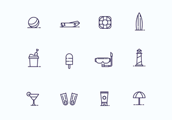 Beach Icons in Outline Style - vector #428599 gratis