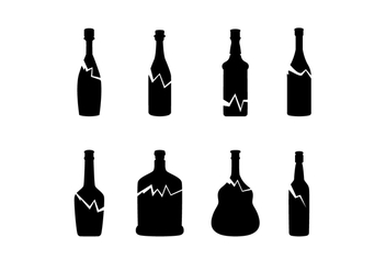 Silhouette Broken Bottle Free Vector - Free vector #428609