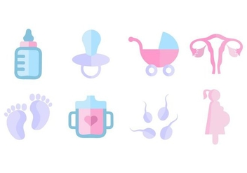 Free Maternity Icons Flat Style Vector - vector gratuit #428839