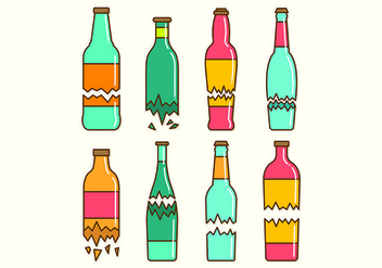 Set Of Broken Bottle Vectors - vector gratuit #428879