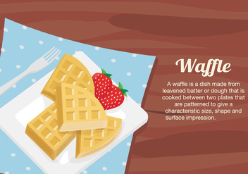 Waffles Dessert Plate On Table Vector Illustration - Free vector #428889
