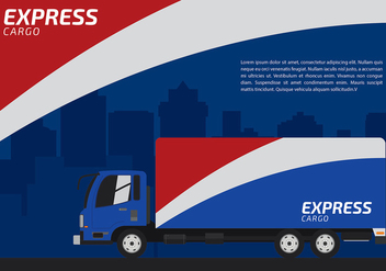 Red White and Blue Express Camion Free Vector - vector gratuit #428919