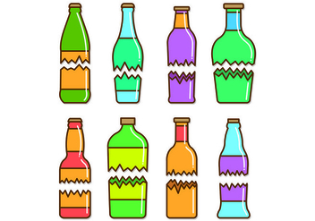 Set Of Broken Bottle Vectors - Free vector #429009