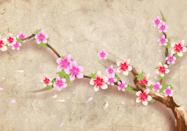 Japanese Style Peach Blossom Flower Background Vector - Kostenloses vector #429039