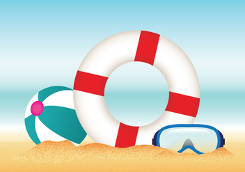 Summer Beach with Lifesaver Vector - Free vector #429049
