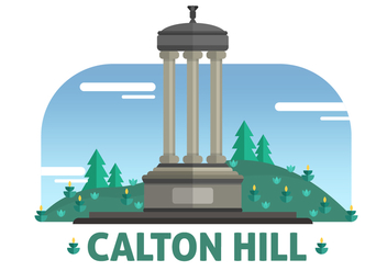 Calton Hill The Landmark of Edinburgh Vector Illustration - Free vector #429119