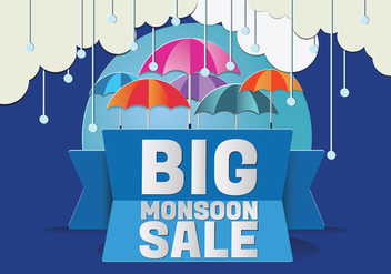Monsoon Season Raining Drops with Umbrella Vector - Free vector #429189
